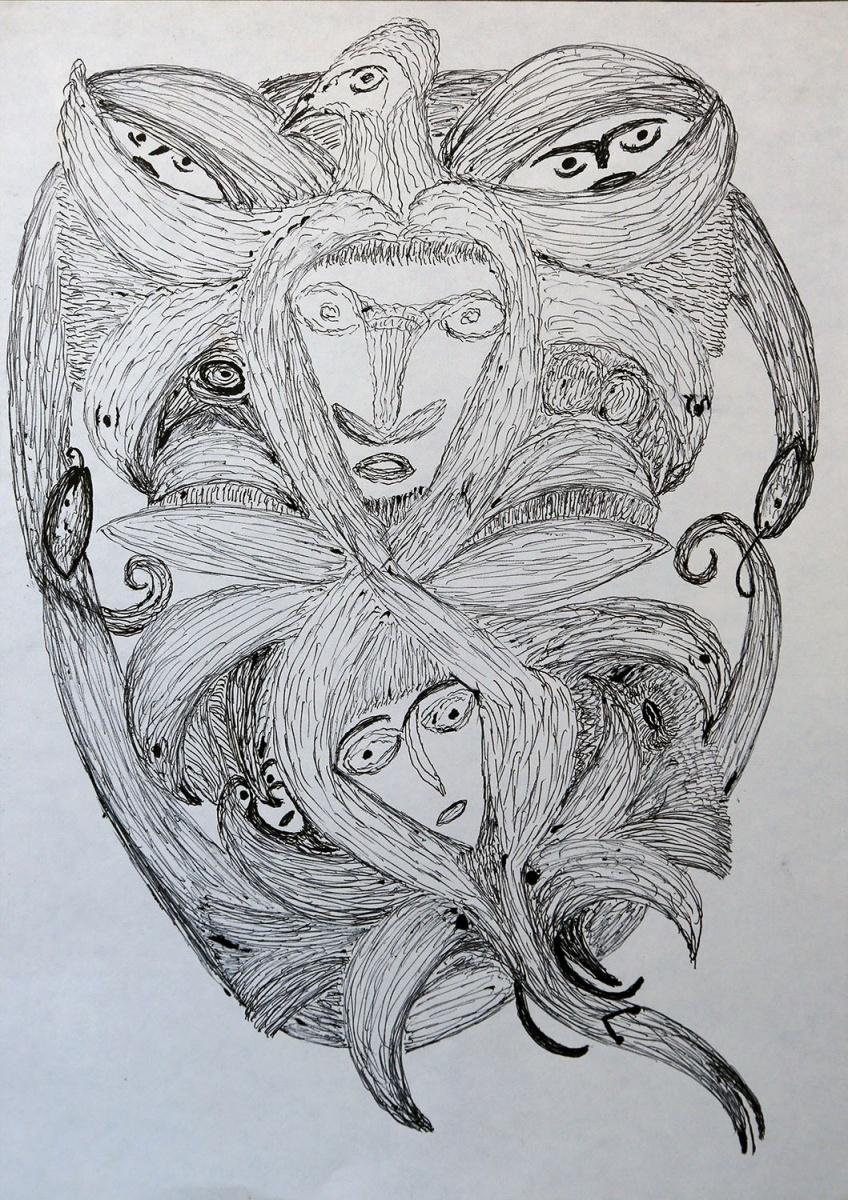 Bianco e nero a matita e penna